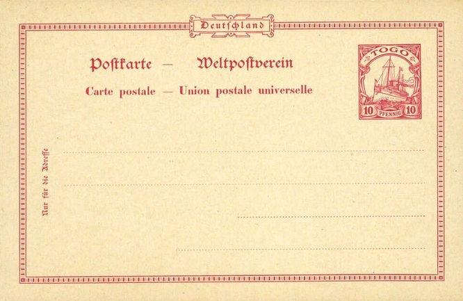 Togo Ganzsache, 10 Pfennig