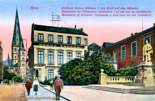 Bonn, Denkmal Kaiser Wilhelm I. mit Blick auf das Münster