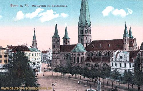 Bonn am Rhein, Münsterplatz mit Münsterkirche