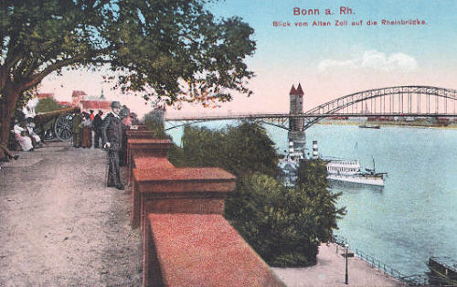 Bonn am Rhein, Blick vom Alten Zoll auf die Rheinbrücke