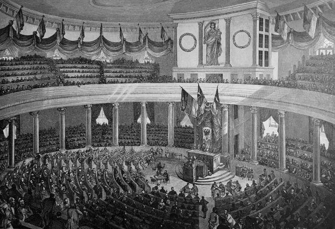 Eine Sitzung der deutschen Reichs-Versammlung zu Frankfurt a. M. 1848. Nach einer Lithografie von E. G. May; Originalzeichnung von Fz. Bamberger.