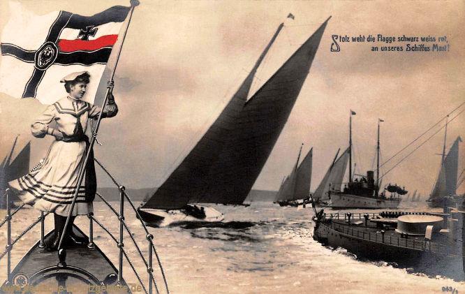 Stolz weht die Flagge schwarz weiss rot, an unseres Schiffes Mast!