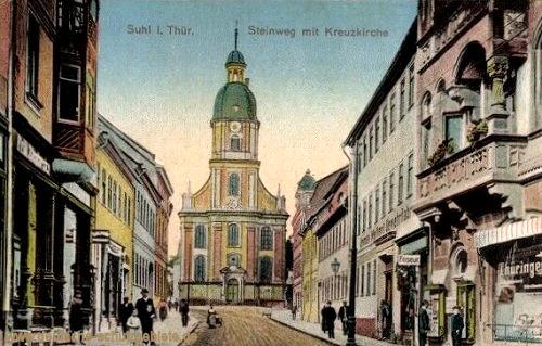 Suhl, Steinweg mit Kreuzkirche