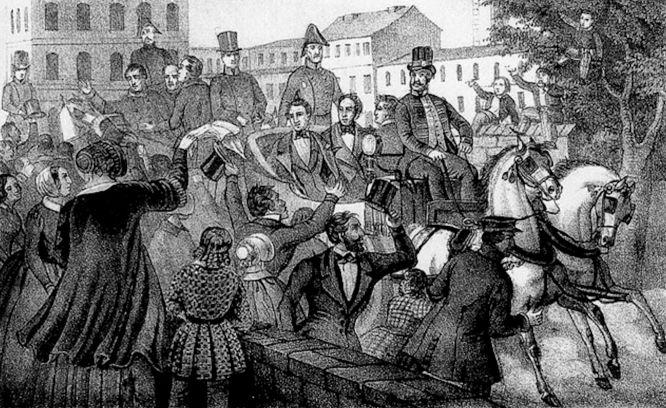 Empfang der Kaiserdeputation in Berlin am 1. April 1849. Lithografie C.G. Lohse