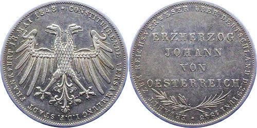 Silber-Doppelgulden - Stadt Frankfurt 18. Mai 1848 * Constituierende Versammlung - Erzherzog Johann von Österreich - Erwählt zum Reichsverweser über Deutschland 29. Juni 1848