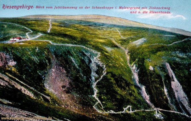 Riesengebirge. Blick vom Jubiläumsweg an der Schneekoppe i. Melzergrund mit Zickzackweg und a. die Riesenbaude.