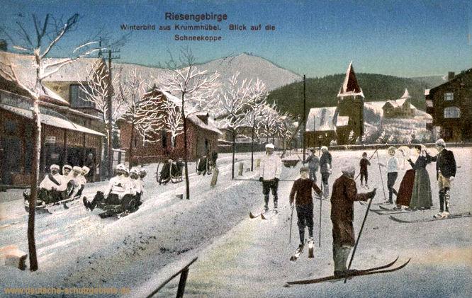 Riesengebirge. Winterbild aus Krummhübel. Blick auf die Schneekoppe.