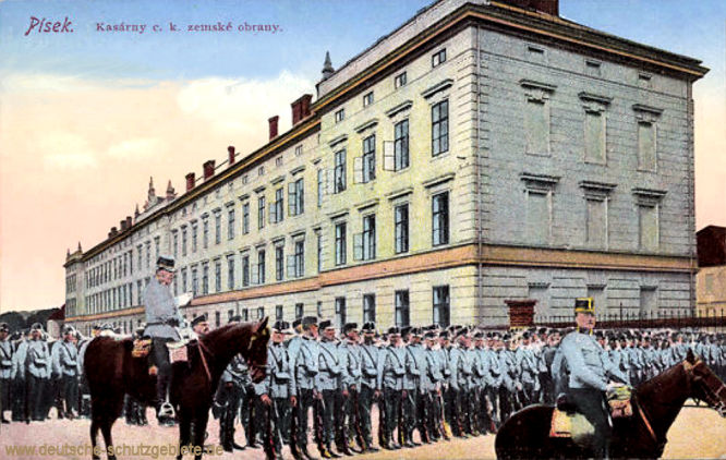 Pisek, kasárny c. k. zemské obrany (Kaserne der k.u.k. Landesverteidigung)