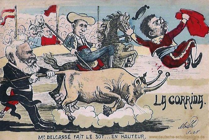 Delcassé fait le sot en hauteur (Delcassé spielt den Narren), französische Spottkarte 1905