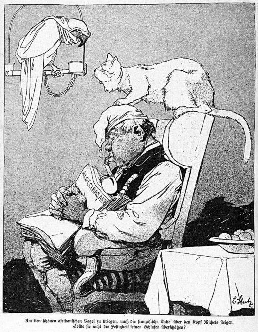 """Vorsicht! Um den schönen afrikanischen Vogel zu kriegen, muss die französische Katze über den Kopf Michels steigen. Sollte sie nicht die Festigkeit seines Schlafes überschätzen? (Karikatur aus der Satirezeitschrift """"Kladderadatsch"""" vom 7. Mai 1911)"""
