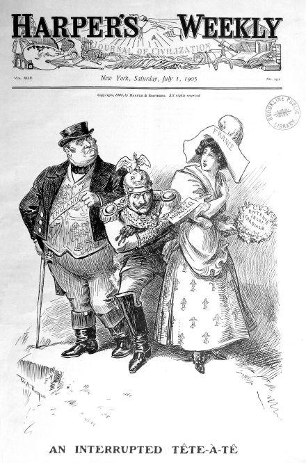 An interrupted Tête-à-Tête (Kaiser Wilhelm II. stört das Übereinkommen Großbritanniens und Frankreichs über Marokko, da er auf die Einhaltung der Verträge pocht. ), Harper's Weekly New York 1. Juli 1905