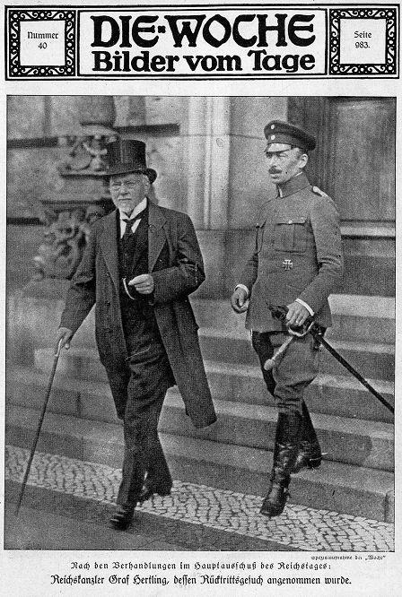 Nach den Verhandlungen im Hauptausschuss des Reichstages. Reichskanzler Graf Hertling, dessen Rücktrittsgesuch angenommen wurde. (Die Woche)