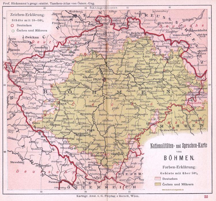 Böhmen, Nationalitäten- und Sprachen-Karte 1900 (Prof. Hickmann's geographisch-statistischer Taschenatlas von Österreich-Ungarn)