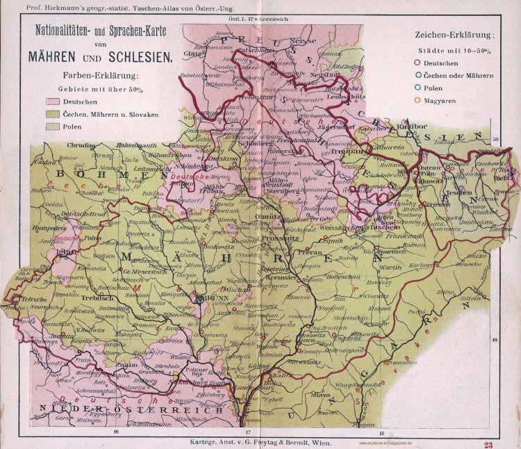 Mähren und Schlesien Nationalitäten- und Sprachen-Karte 1900 (Prof. Hickmann's geographisch-statistischer Taschenatlas von Österreich-Ungarn)