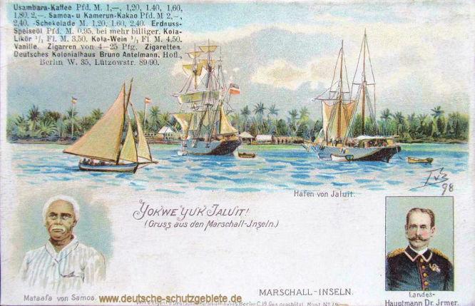 Marshall-Inseln Hafen von Jaluit. Mataafa von Samoa und Landeshauptmann Dr. Irmer.