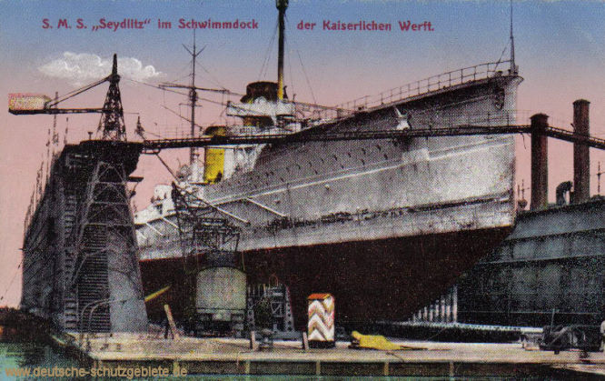S.M.S. Seydlitz im Schwimmdock der Kaiserlichen Werft