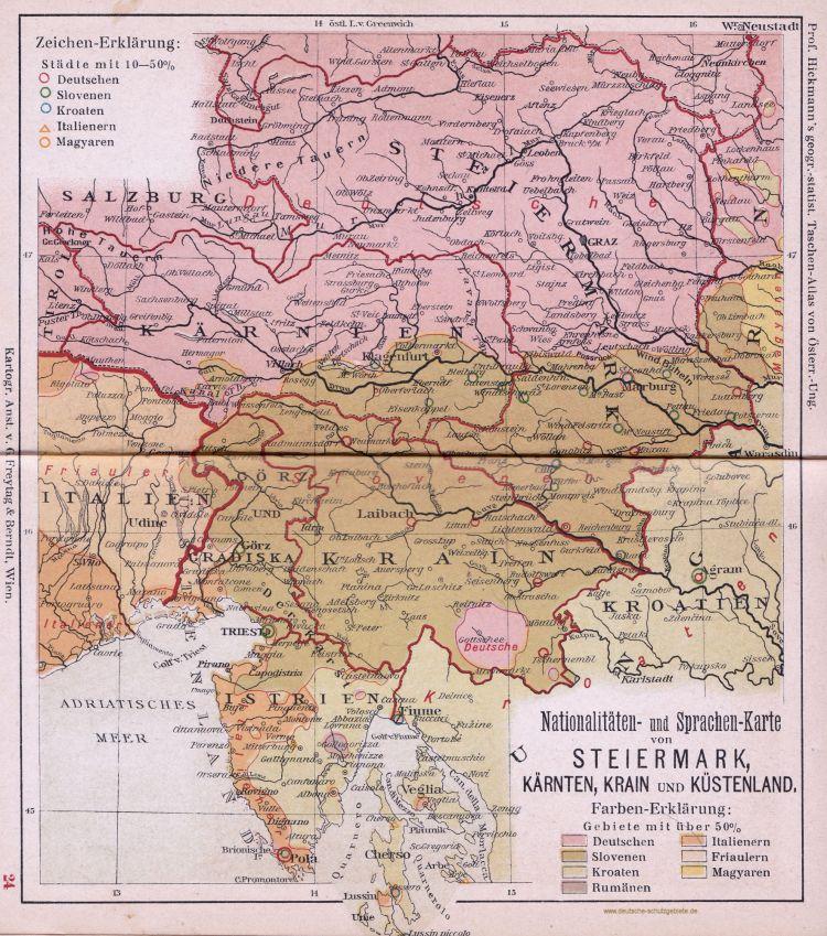 Steiermark, Kärnten, Krain und Küstenland, Nationalitäten- und Sprachen-Karte 1900 (Prof. Hickmann's geographisch-statistischer Taschenatlas von Österreich-Ungarn)