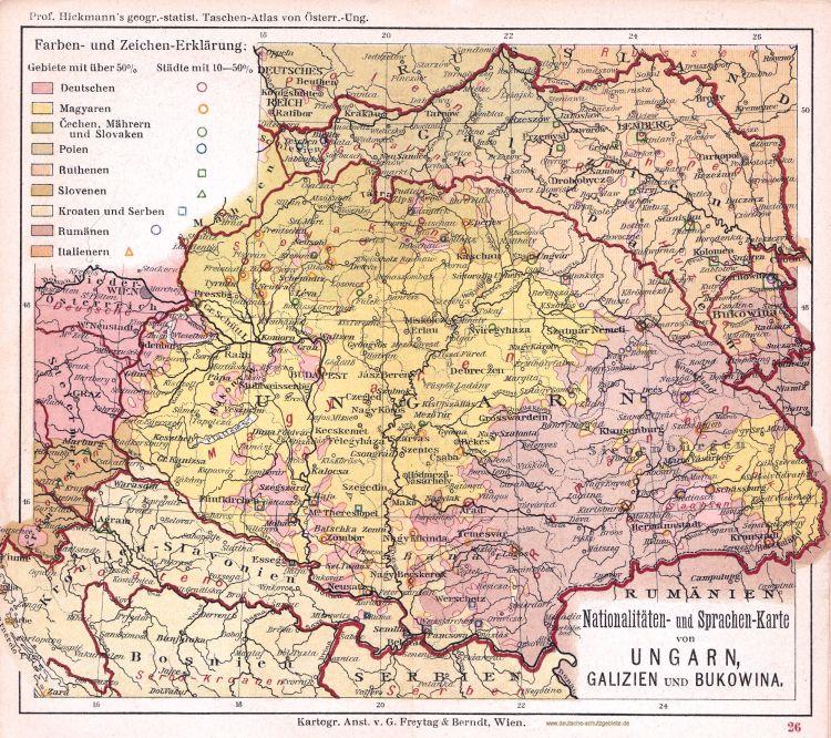 Ungarn, Galizien und Bukowina, Nationalitäten- und Sprachen-Karte 1900 (Prof. Hickmann's geographisch-statistischer Taschenatlas von Österreich-Ungarn)