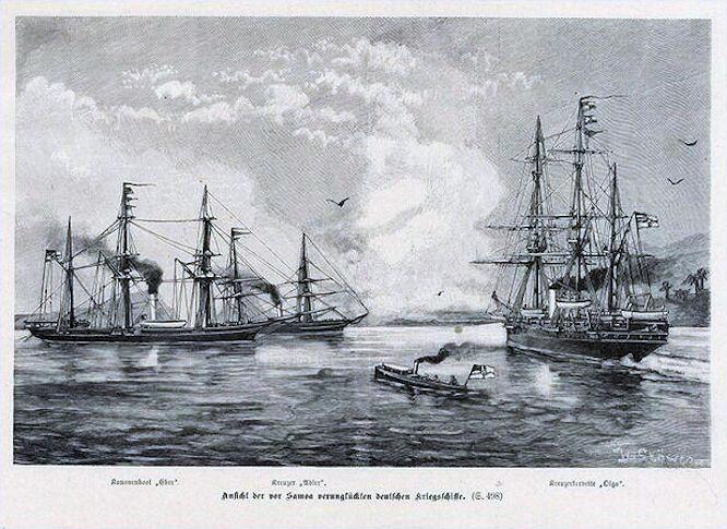 Ansicht der vor Samoa verunglückten deutschen Kriegsschiffe: Kanonenboot Eber, Kreuzer Adler, Kreuzerkorvette Olga.