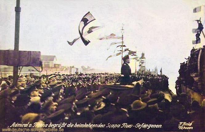 Admiral von Trotha begrüßte die heimkehrenden Scapa Flow Gefangenen. (31.Januar 1920)