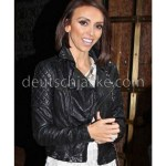Giuliana Rancic Quilted Black Moto Leather Jacket