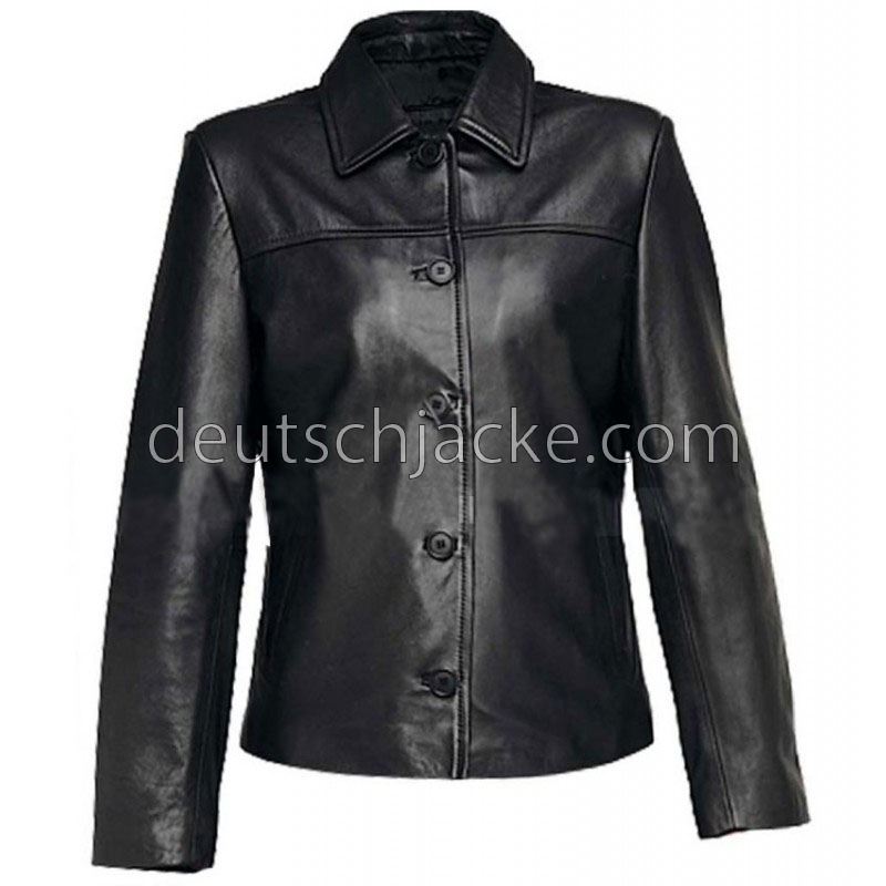 Women Black Leather Jacket With Buttons Front
