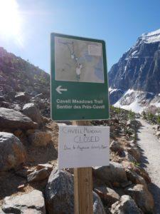 Sentier fermé au Mont Edith Cavell