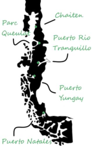 Carte Chili détail Carretera austral - Journal de bord