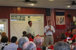 Senator Dix and Senator Whitver address guests of the fundraising dinner