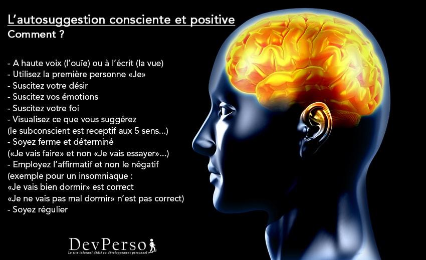 Développement personnel : Comment pratiquer l'autosuggestion consciente et positive, par Dev-Perso