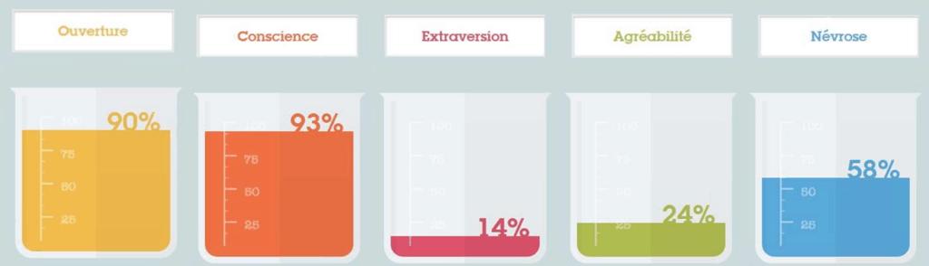 Résultats au test de personnalité BIG 5