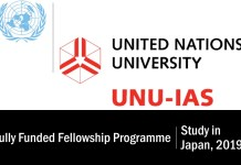 United Nations University/JSPS Fully Funded Fellowship Programme for Study in Japan, 2019