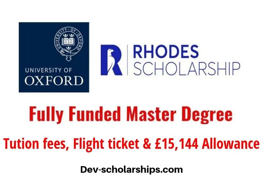 Rhodes Global Fully Funded Scholarships at the University of Oxford in UK, 2019
