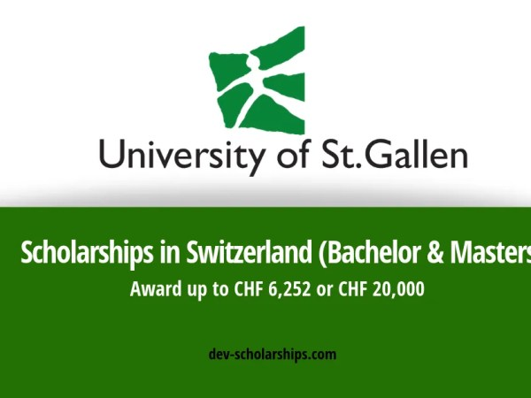 Scholarships in Switzerland for Foreign Students at University of St. Gallen 2019