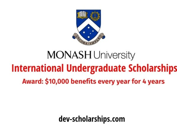100 Monash University International Undergraduate Excellence Scholarships in Australia