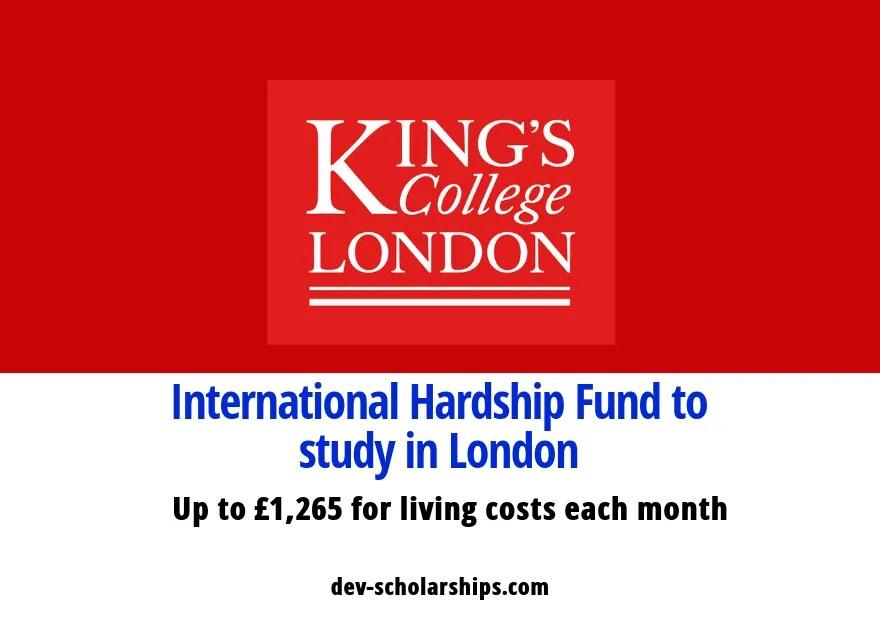 King's College London International Hardship Fund in UK, 2019