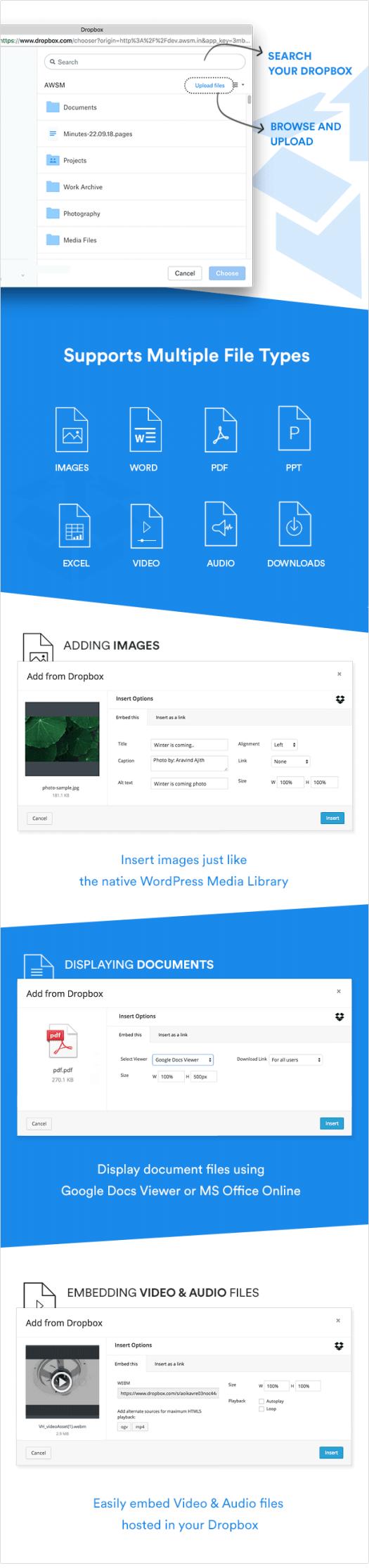 Main Features of Dropbox Plugin for WordPress Dropr