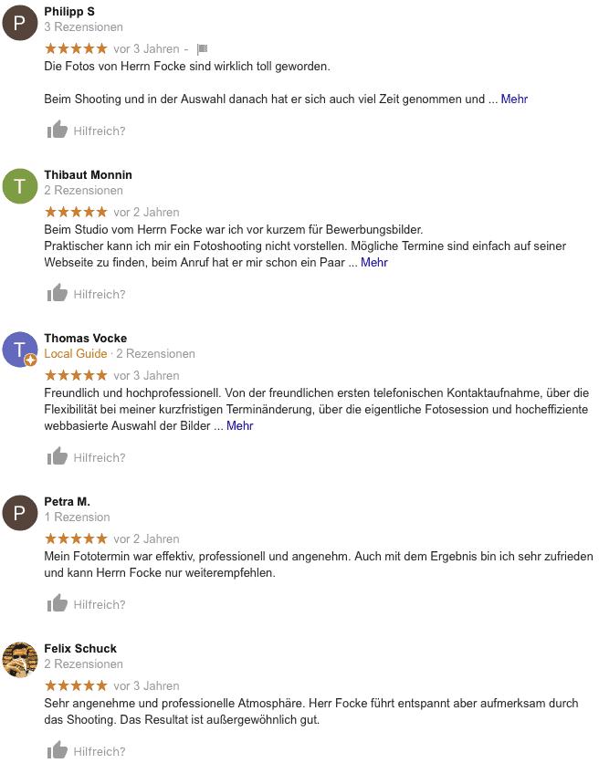 """Screenshot der Bewertungsseite von Google """"Bewerbungsfotos Andreas J. Focke"""""""