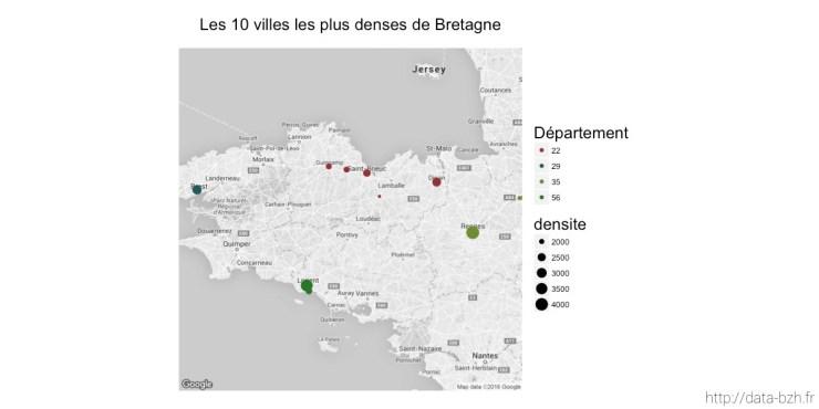 Carte des villes bretonnes les plus denses
