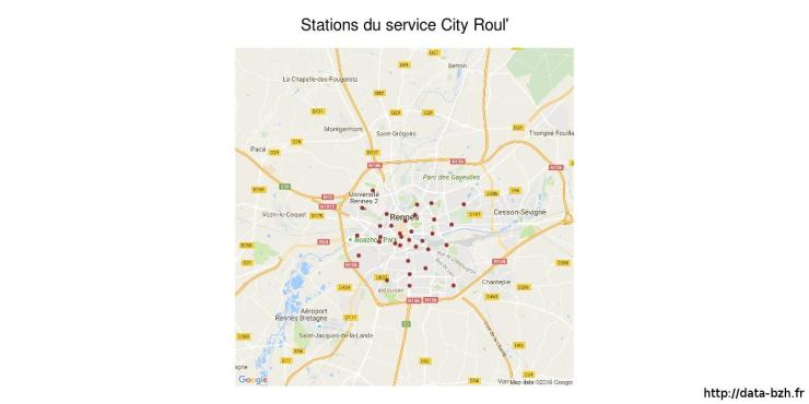 Emplacements des stations City Roul'