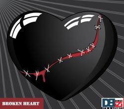 Stitched Broken Heart on Sunburst Background Vector