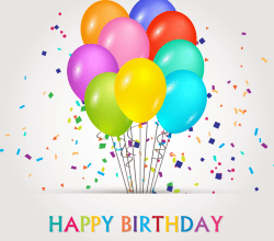 Happy Birthday Vector Banners with Balloons Illustration