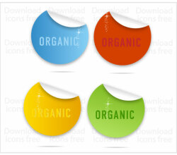 Colorful Curl Labels Free Vectors