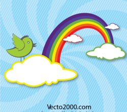 Rainbow with Clouds and Bird Vector Card Design Free