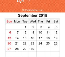 September 2015 Calendar Template Vector Free