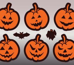 Jack O' Lantern Pumpkin Faces Vector Art