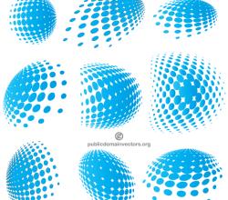 Vector Blue Halftone Elements Graphics