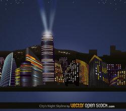 City Nights Skyline Vector Free