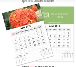 Wall Calendar April 2016