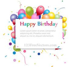 Happy Birthday Background with Banner and Colorful Balloons